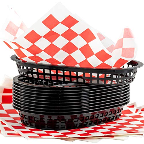 (Retro Style Black Fast Food Basket (12Pk) and Red Checkered Deli Liner (120Pk) Combo. Classic 11 In Deli Baskets Are Microwavable and Dishwasher Safe. Disposable Deli Paper Squares for Easy Cleanup)