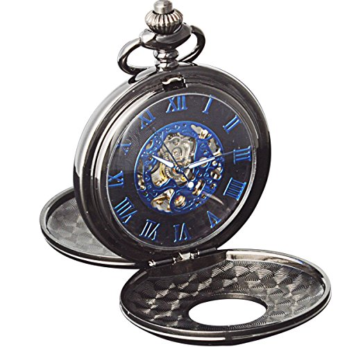 SIBOSUN Skeleton Pocket Watch Men Mechanical Double Cover Blue Roman Numerals Hand Wind With (17 Jewel Manual Wind)