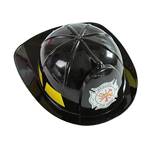 Helmet Black Firefighter Child - Making Believe Kids Rigid Plastic Black Fireman Helmet