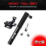frame bmx - RYG Mini Bike Pump, Portable Bicycle Tire Inflator with Air Pressure Gauge, Fits Presta & Schrader Valve, Mountain Road Hybrid & BMX Bikes, Lightweight Aluminum Frame with Mounting Bracket
