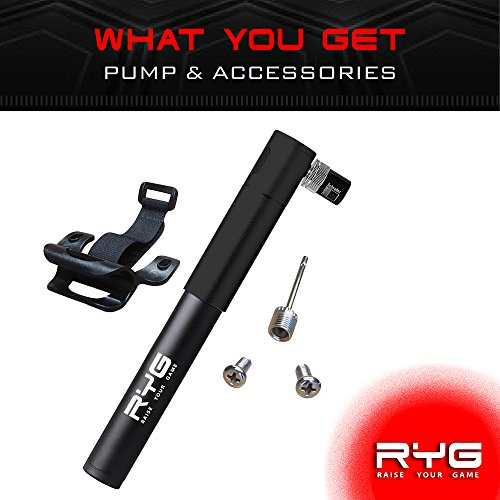 RYG Mini Bike Pump with Mounting Bracket, Portable Bicycle Tire Inflator with Air Pressure Gauge, Fits Presta & Schrader Valve, Mountain, Road, Hybrid & BMX Bikes, Lightweight Durable Aluminum Frame