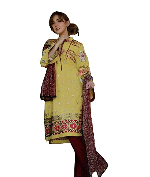 38976ecdc0 UFW Pakistani Suits for Women,Cambric Cotton With Self Embroidery Work Top,Bottom  Semi