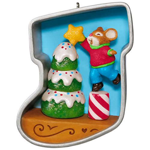 Hallmark Keepsake 2017 Stocking Cookie Cutter Christmas Decorating the Tree Mouse Christmas Ornament - Ornament Cookie Cutter