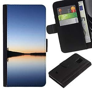 Paccase / Billetera de Cuero Caso del tirón Titular de la tarjeta Carcasa Funda para - Calm lake - Samsung Galaxy S5 Mini, SM-G800, NOT S5 REGULAR!