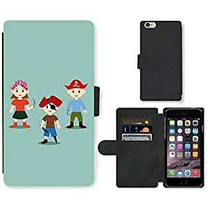 """Hot Style Cell Phone Card Slot PU Leather Wallet Case // M99999568 Pirate Kids Vector Illustration // Apple iPhone 6 PLUS 5.5"""""""
