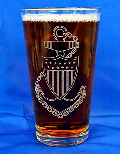 Custom Etched Pint Glass (Custom Etched US Coast Guard CPO E-7 Emblem on 16oz Pint Glasses Set of 2 PRE-HOLIDAY SALE)