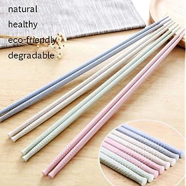 Gripsticks  Wheat Straw Cooking Chopsticks - Enhanced-Grip Tips, 36cm (14 inch), 4-Pair, Dishwasher-Safe (Pink Chopsticks, Green Chopsticks, Blue Chopsticks, Gray Chopsticks)