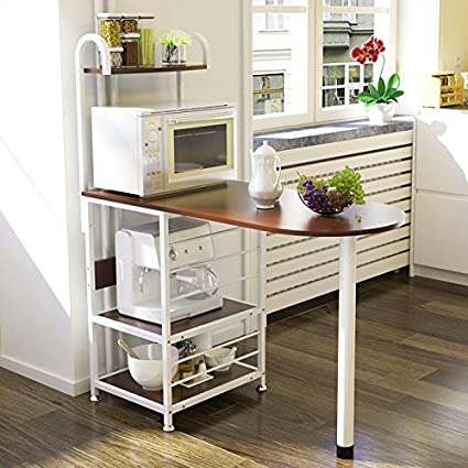 Magshion Kitchen Island Metal Dining Baker Cabinet Basket Storage Shelves  Organizer Wood (Walnut)