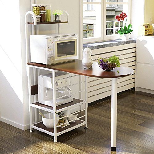Magshion Kitchen Island Metal Dining Baker Cabinet Basket Storage Shelves Organizer Wood (Walnut)