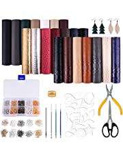 TUPARKA 21 Pack Faux Leather Sheets with Earring Cut Molds and Leather Earrings Making Tools Kit for Making Leather Earrings Bows and Crafts(6 X 8.3 inch,3 Style)