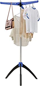 FKUO Foldable Clothes Drying Rack, Portable Tripod Garment Tree, Free-Standing Collapsible Drying Rack for Hanging Laundry (Blue)
