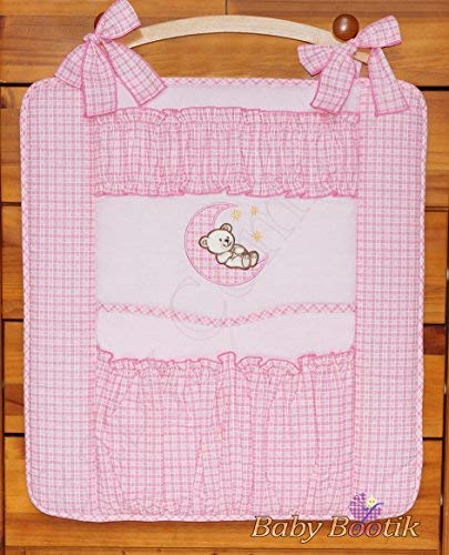 Nursery Baby Cot Tidy Organiser for Cot or Cot Bed Bear Moon Pink