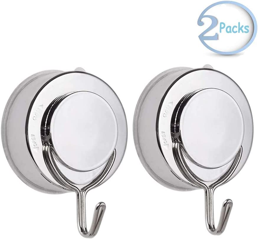 Suction Cup Hooks, VIS'V Waterproof Removable Heavy Duty Vacuum Suction Cup Hooks Locking Window Glass Kitchen Bathroom Wall Hooks Hanger for Towel Loofah Sponge Cloth Key - Silver
