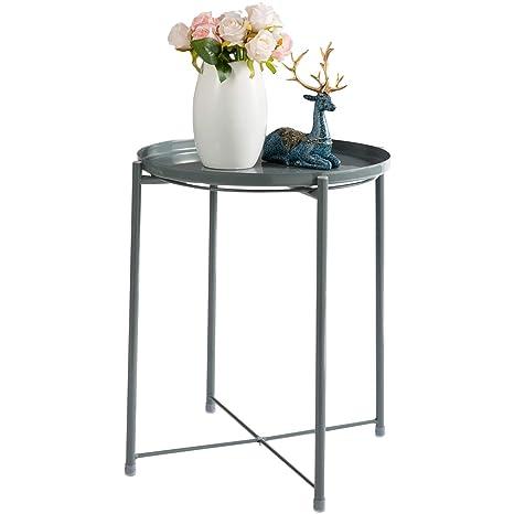 Amazon.com: HollyHOME - Mesa redonda plegable: Kitchen & Dining