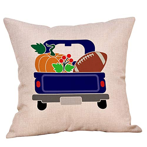 Fall Pumpkin Truck Throw Pillow Cover Halloween Thanksgiving Cushion Case Home Decor 18