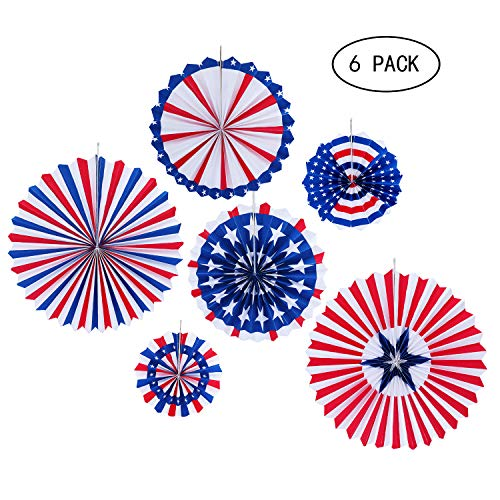 JOYSEAS 6PCS Paper Fans Hanging Decorations Veterans Day Decorations Labor Day Party Decor Supplies for Independence Day, Flag Day, Presidents Day, Memorial Day