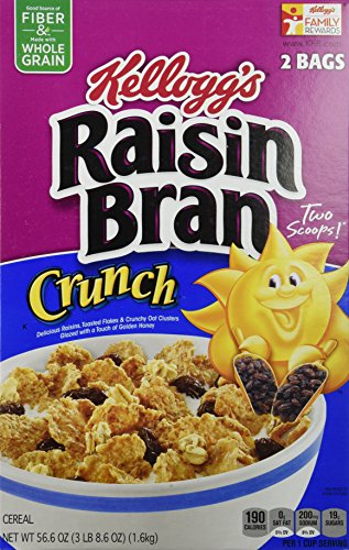 Kellogg's Raisin Bran Crunch Cereal 56.6 Total Ounce Two Bag Value Box ()