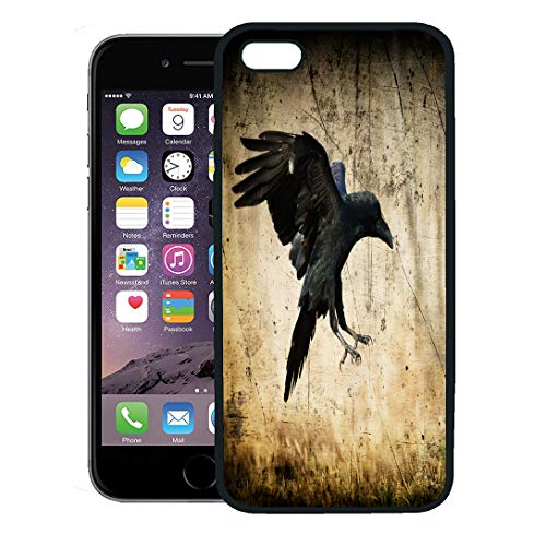 Semtomn Phone Case for iPhone 8 Plus case,Landing Black Raven Corvus Corax in Moonlight Scary Creepy Gothic Setting Cloudy Night Halloween Old iPhone 7 Plus case Cover,Black ()