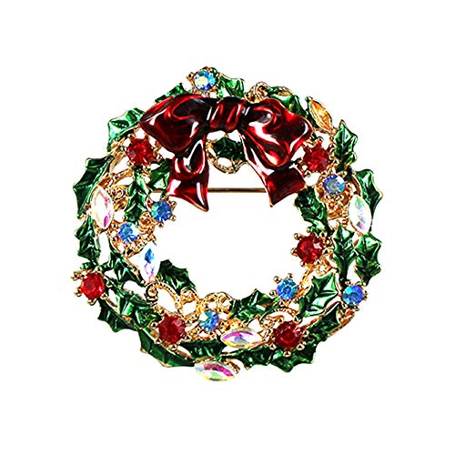 Christmas Wreath CZ Brooches for Women Men Girls Gold Tone Fashion Blue Red Ruby Clear Crystal Rhinestone Bowknot Hollow Garland Brooch Pins Bow Tie Necktie Dress Accessories Jewelry Unisex Gifts