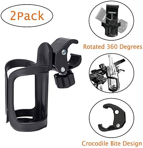Juzanl Cup Holder for Bikes, Tools Free Bike Water Bottle Holder, 360 Degree Rotating Bike Water Bottle, Bicycle Drink Holder for MTB Bike Bicycle Stroller Motorcycle Boats 2 Pack