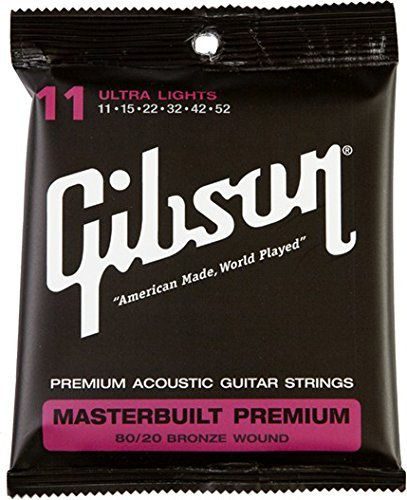 Gibson Accessories SAG-BRS11 Masterbuilt Premium 80/20 Bronze Ultra Light Acoustic Guitar Strings (Gibson Masterbuilt Premium Acoustic Guitar)