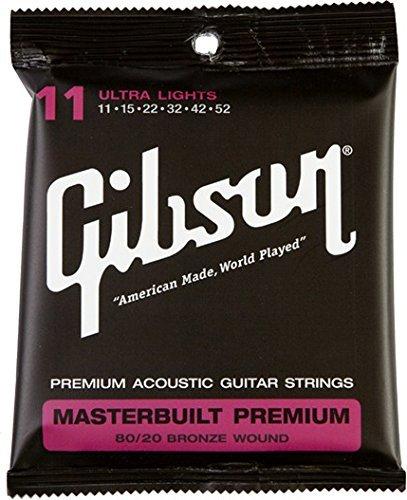 Gibson Accessories SAG-BRS11 Masterbuilt Premium 80/20 Bronze Ultra Light Acoustic Guitar Strings (Gibson Masterbuilt Premium Acoustic Guitar)