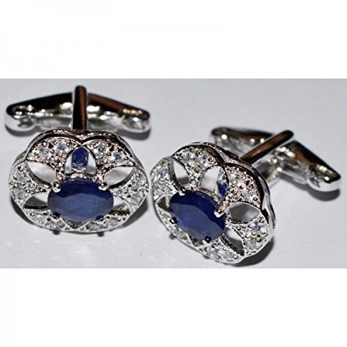 925 Sterling Silver Blue Sapphire Royal Cufflinks