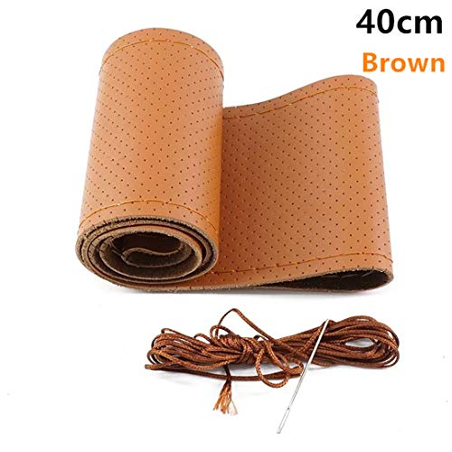 XiangTiao DIY Genuine Leather Car Steering Wheel Cover Soft Anti Slip Cowhide Braid with Needles Thread 36 38 40 cm Brown 40