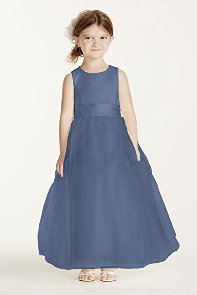 6e13e014901 Satin Flower Girl Communion Dress With Tulle Skirt Style S1038 ...