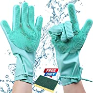 Silicone Magic Dishwashing Gloves with Scrubber, Latex Free Scrub Cleaning Gloves |Reusable Rubber|BPA Free| Multi-use for Restaurant/Kitchen/Bathroom/Toilet/Car Wash/Pet Hair Care Dog Grooming