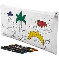 Lote de 30 Estuches para Colorear Infantiles Dinos con 4 Ceras Incluidas - Estuches con Pinturas