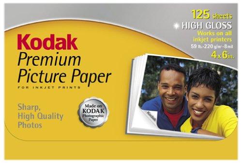 Kodak 1368158 Premium Picture Paper, High Gloss, 4inx6in,...