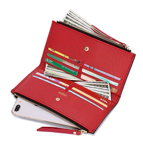- WOZEAH Womens Walllet RFID Blocking Bifold Case Wallet with Zipper Pocket -PU Vegan Leather (red)
