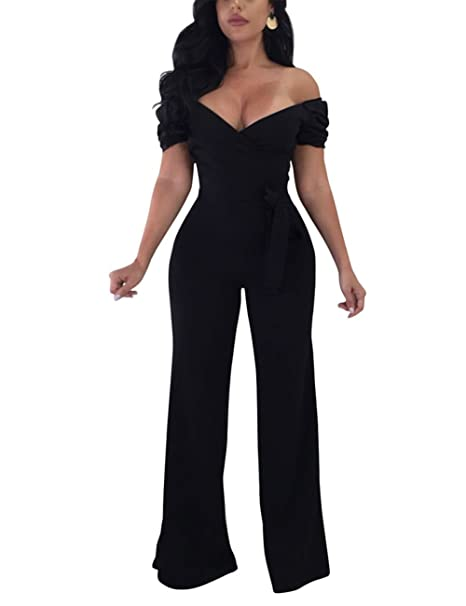 181b3297cb2 QueenBoutique Women Sexy Wide Leg Long Pants Party Jumpsuits Romper  Clubwear (S