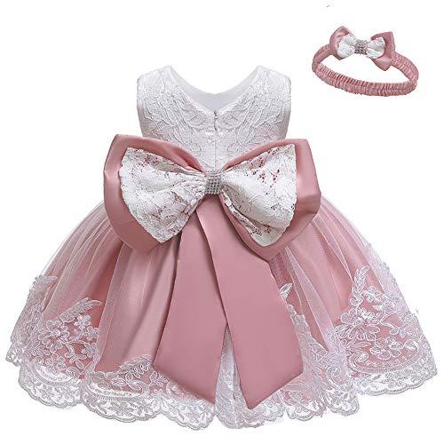 LZH Baby Girls Formal Dress Bowknot Birthday Embroidery Tutu Dress with Headwear(8348-Bean Powder,6M/3-6 Months) (Wedding Girls Indian Dress For)