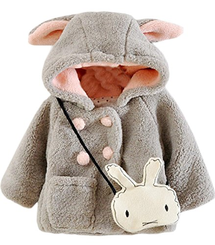 Kids Baby Girls Fleece Cartoon Rabbit Ear Peacoat Winter Warm Thick Hooded Coat