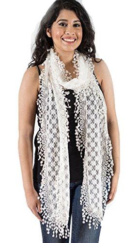 Extra Long Fringe (Elegant Extra Long Lace Scarf with Fringe, fashion scarf, multi color, summer beach scarf, White)