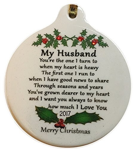 My HUSBAND with Love 2017 Porcelain Ornament Gift Boxed Rhinestone Crystal - For Husbands Gifts