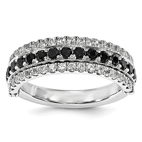 Sterling Silver Stack Exp Created White Sapphire & Black Sapphire Flip Ring Size 6 by Jewels By Lux