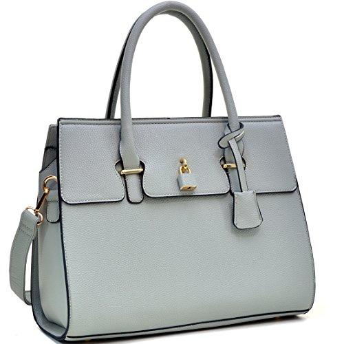 Dasein Fashion Padlock Briefcase Satchel Handbag, Tablet, iPad Bag - Grey