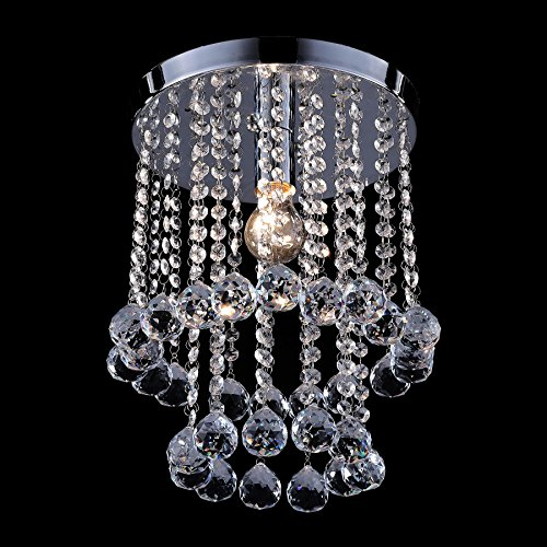 Co Z Crystal Chandelier Lighting Fixture With Led Bulb  Modern Flush Mount Raindrop Light Fixture With Crystal Balls  Close To Ceiling Light Fixture For Hallway  Bar  Kitchen  Dining Room  Kids Room