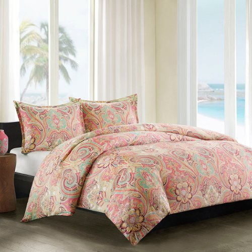 Echo Design Guinevere Duvet Cover Twin Size - Coral, Aqua , Reversibe Floral Damask Duvet Cover Set - 2 Piece - 100% Cotton Sateen Light Weight Bed Comforter Covers