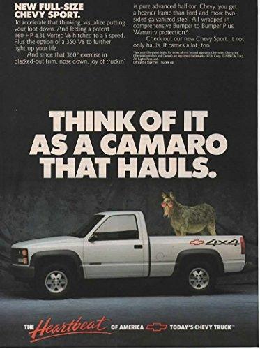 Magazine Print Ad: 1989 Chevy Sport Pickup Truck