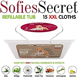 """SofiesSecret XXL PET Bath Wipes, 12""""x12"""" for Dogs + Cats, Infused with ONLY 100% Natural Oils & Extracts, Rinse Free Grooming Wipes for Paws, Coat, Face, Ears, Skin, Teeth"""