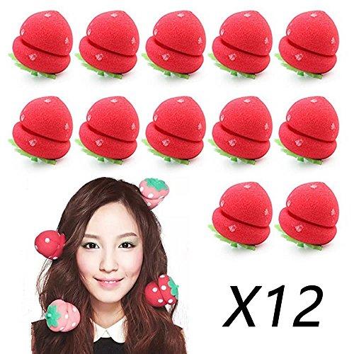 AStorePlus 12 Pcs Quick DIY Strawberry Hair Styling Sponge Balls Hair Curlers