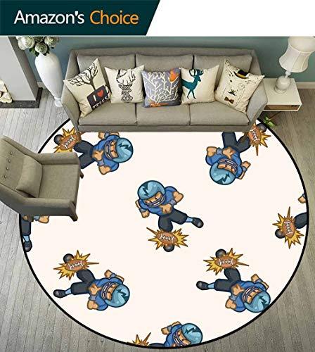 Football Round Rug Kids playroom,Kids Boys Cartoon Competitive Player Hitting The Ball Quarterback Touchdown Anti-Static,Blue Black Brown,D-79