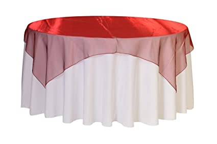 Merveilleux 72 Inch Square Organza Table Overlays Burgundy