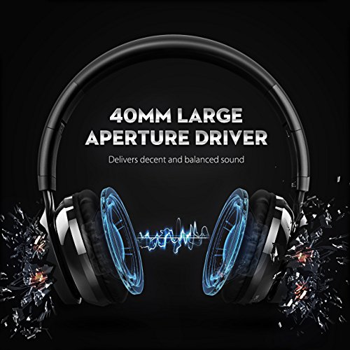 Large Product Image of Mpow Thor Bluetooth Headphones On Ear, 40mm Driver Wireless Headset Foldable with Mic, Wired and Wireless Headphones for Cell Phone/TV/ PC