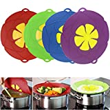 Spill Stopper Lid Cover ,Boil Over Safeguard,Silicone Spill Stopper Pot Pan Lid Multi-Function Cooking Tool ,Kitchen Gadgets (4 Pack, Green, Red,Blue, Purple)