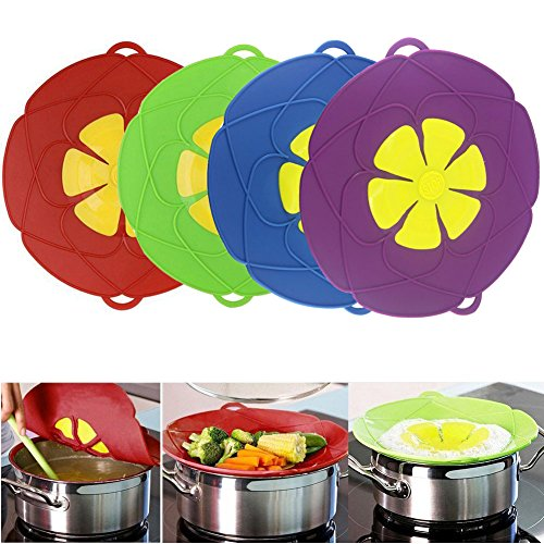 Spill Stopper Lid Cover ,Boil Over Safeguard,Silicone Spill Stopper Pot Pan Lid Multi-Function Cooking Tool ,Kitchen Gadgets (4 Pack, Green, Red,Blue, Purple) by MIGOOL